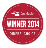 OpenTable Winner 2014 Diners' Choice Award